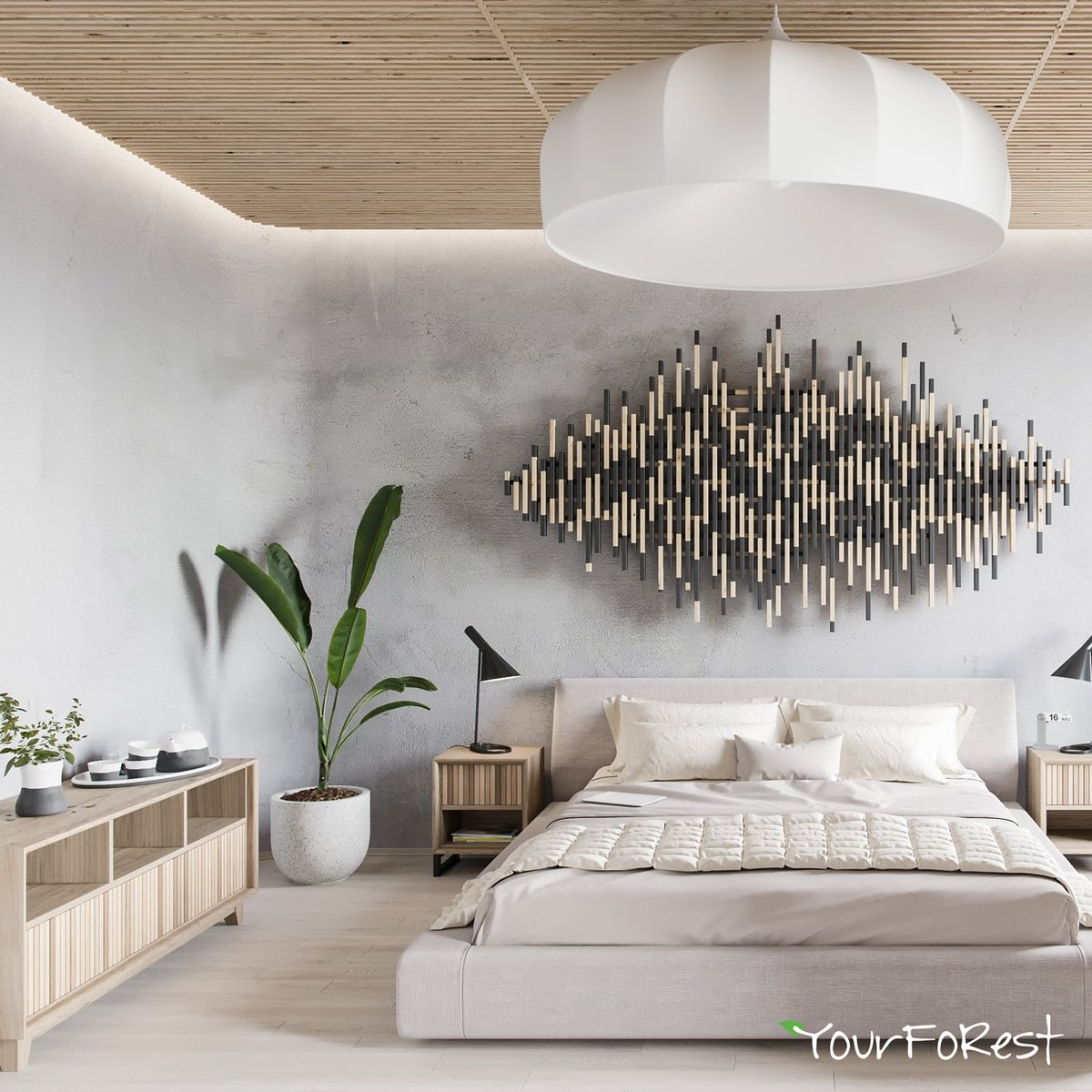 Image of: Yourforest Wood Panels On Twitter Rail Approach In Decoration Of Our Bedside Furniture Set And In Wall Panel Design Ceiling Wooden Panels Batten Natural Material Ash Oak Coating Lacquer Oil Art Toning