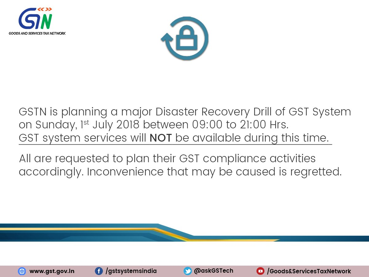 Major Disaster Recovery Drill Scheduled For 1st July 2018 Between 9