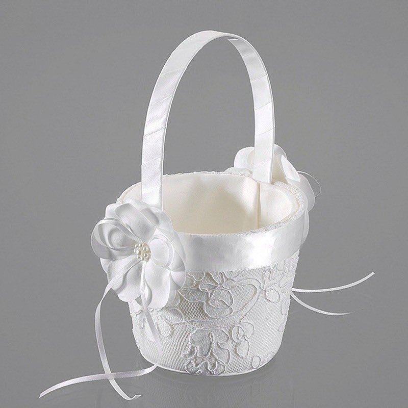 3 Streukorbchen Blumenkinder Ivory Creme Hochzeit Blumen Streuen Braut