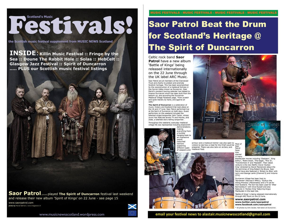 Oche aye!!! Thanks to team @MusicNewsScot for @saorpatrol cover feature @MusicNewsScot plus fabulous article on their new album 'Battle Of Kings' @duncarronfort @clanranaldtrust 'Battle Of Kings' released internationally @ARCMusicProd 22 June 2018...