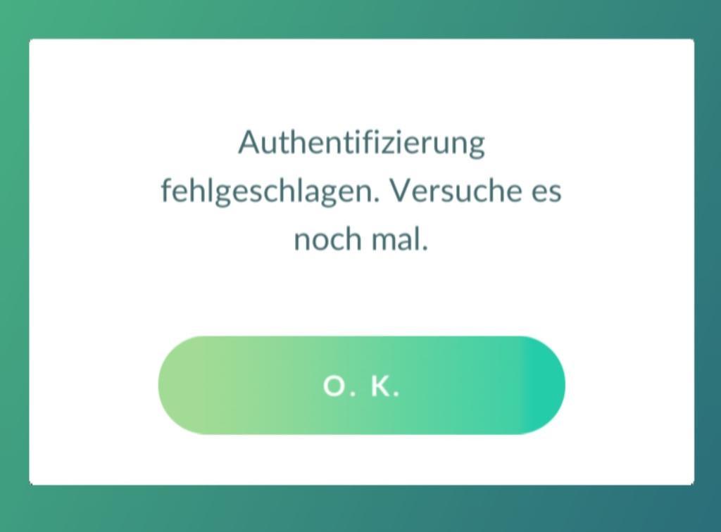 Pokemon go authentifizierung fehlgeschlagen 2019
