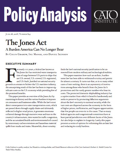the effects of the jones act The jones act under nafta and its effects on the canadian shipbuilding industry mary r brooks william a black chair of commerce dalhousie university.