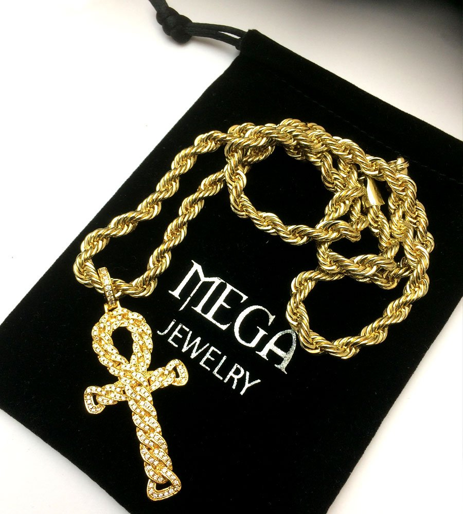af1ceb5fdb9bb3 Accessorize your outfit with the perfect pendant from  http://Everythinghiphop.com 18k Gold Plated Egyptian Ankh with Pendant 6mm  Chain 24 Inches ...