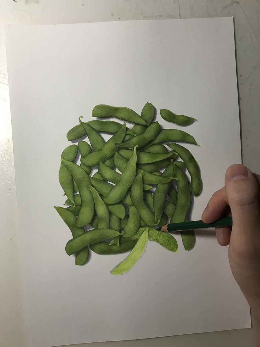 枝豆のリアルなイラスト