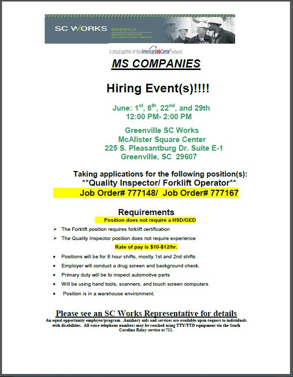 Sc Works On Twitter Ms Companies Is Hiring Quality Inspectors