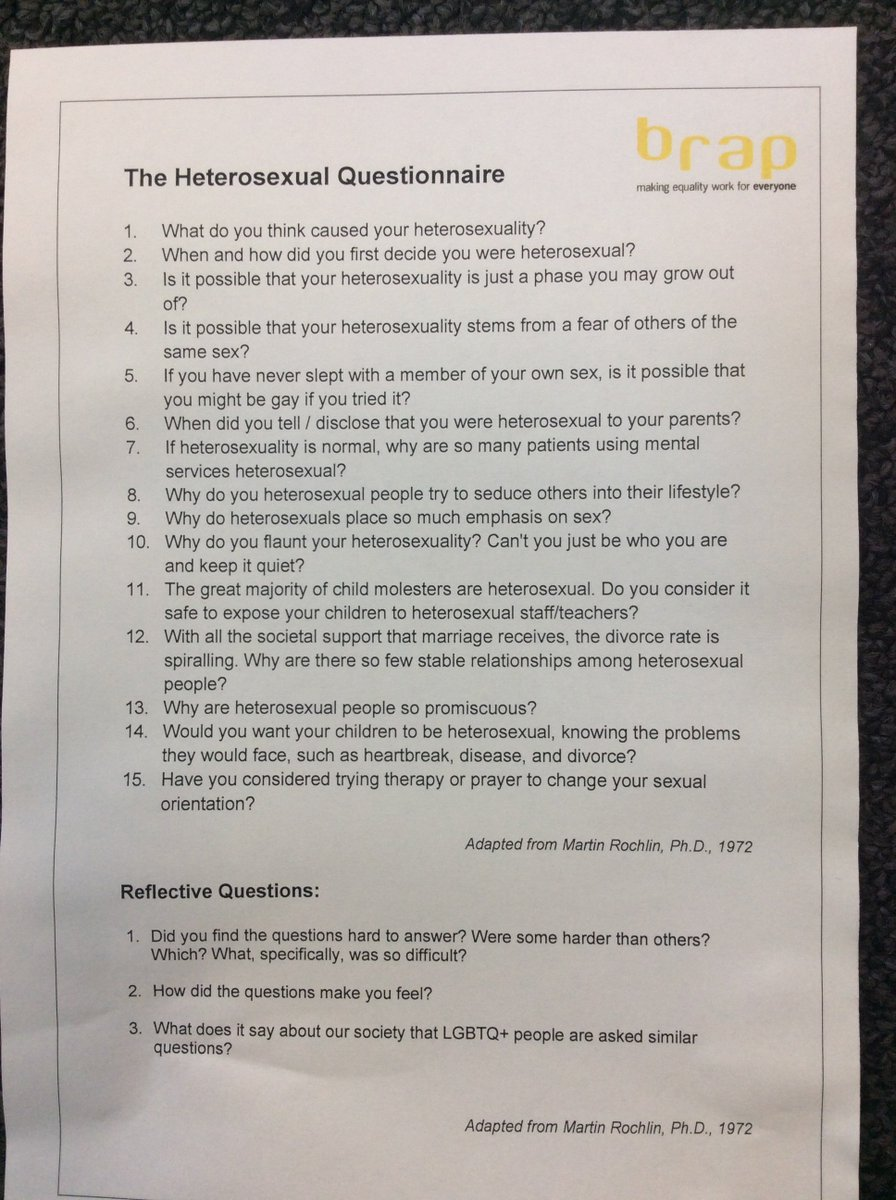 Heterosexual questionnaire answers