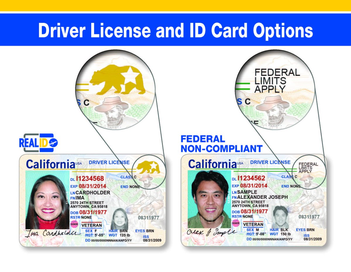 You To Twitter And Must A Card Your Driver Real For Sure Or Options Apply Non-compliant License Dmv Options Two Card Ca On Federal Id D Required Offers Make Know The Visit Bring Id Field Compliant