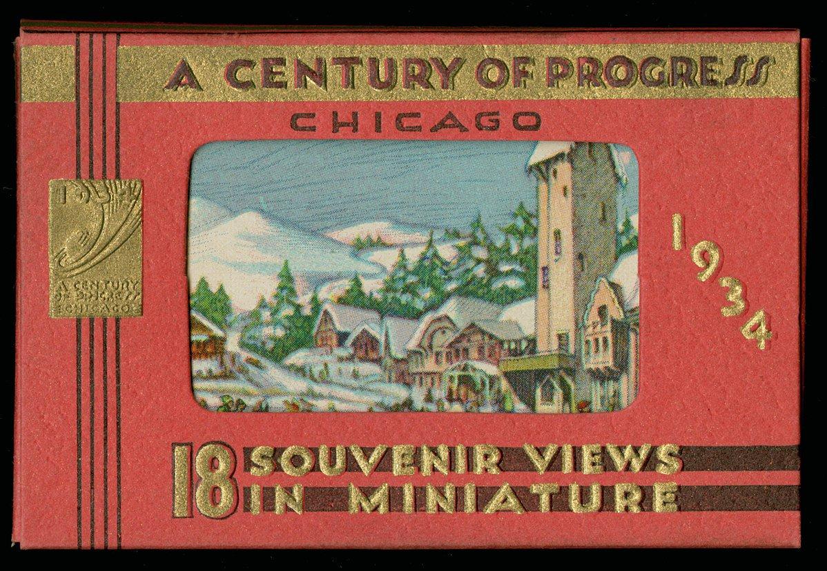 This souvenir from the Worlds Fair is an envelope holding 18 views from A Century of Progress. #centuryofprogress #artdeco #deco #vintage #viewcards #artdecochicago #worldsfair