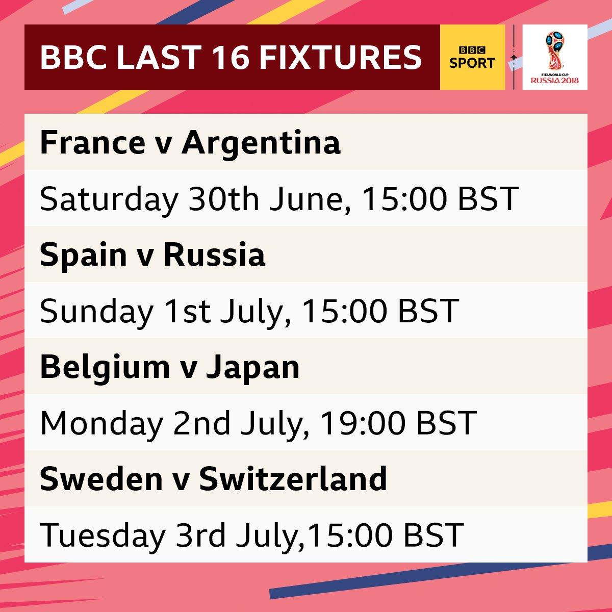 last 16 world cup fixtures
