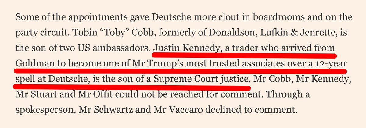 Well, here's an unnerving factoid: Trump's 'most trusted' private banker at @DeutscheBank for 12 years was... Justice Kennedy's son! https://t.co/HmBseVLRcT