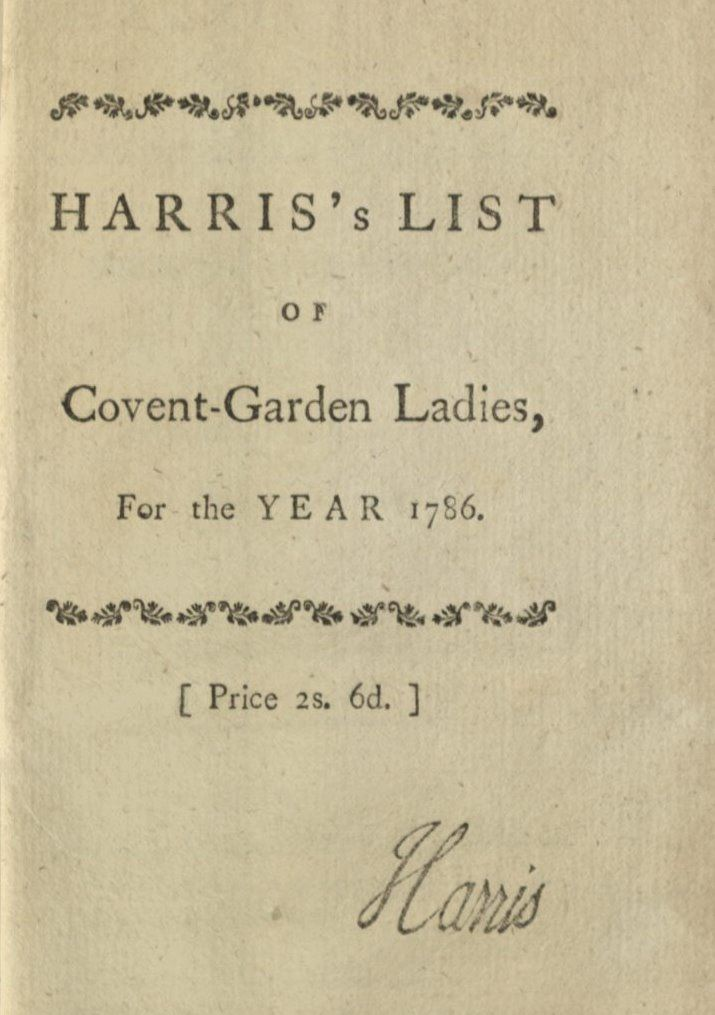 harris s list of the covent garden ladies rubenhold hallie