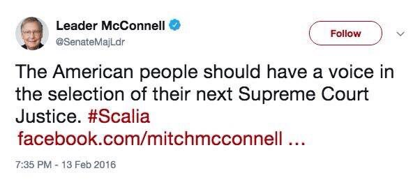 """""""The American people should have a voice in the selection of their next Supreme Court Justice."""" At this moment, I'll go on the record as agreeing with fuckwad-in-Chief @SenateMajLdr ."""