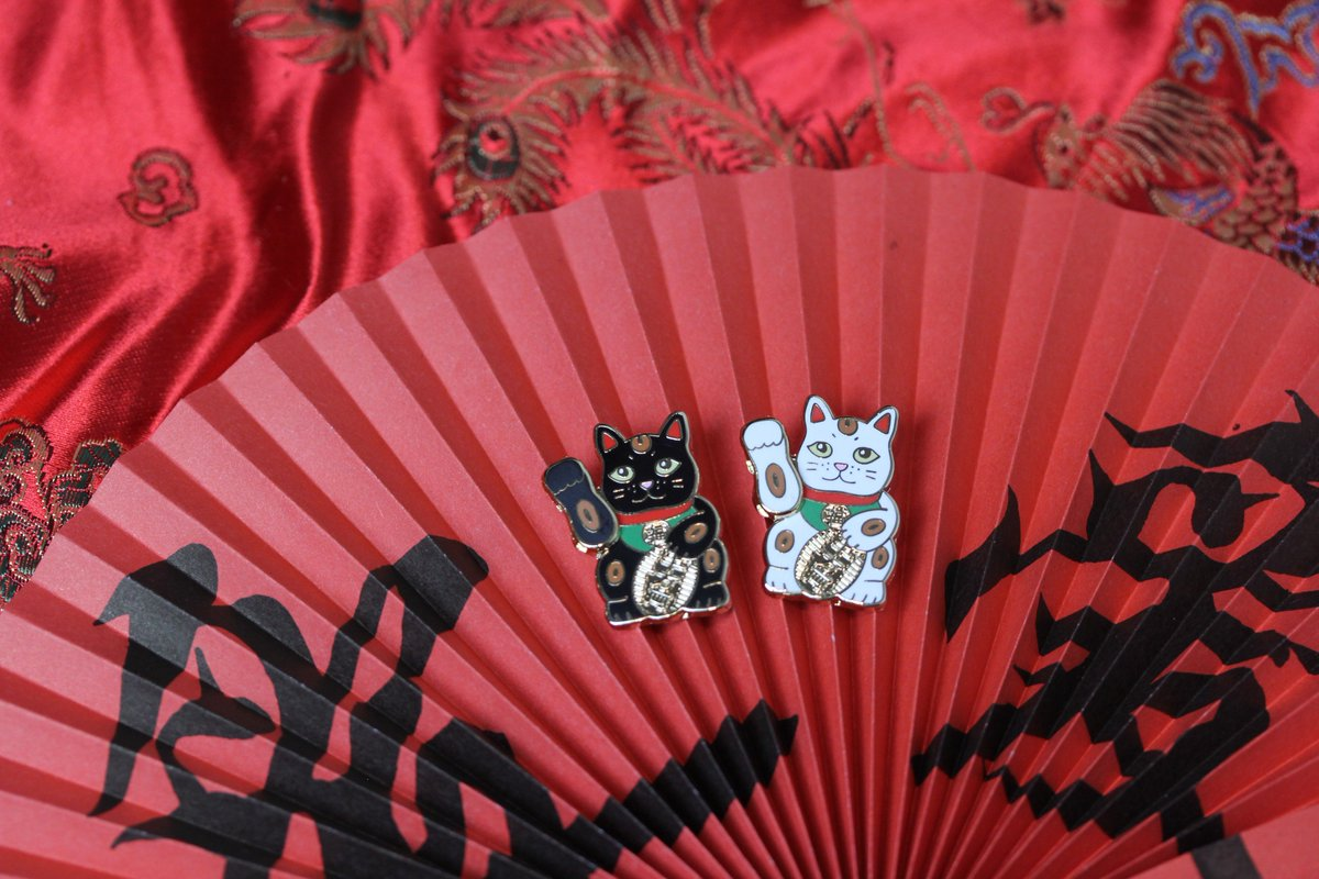 SO NICE, WE MADE EM TWICE 😺 Shop our Lucky Cat + other cat pins here: pintrill.com/search?type=pr…