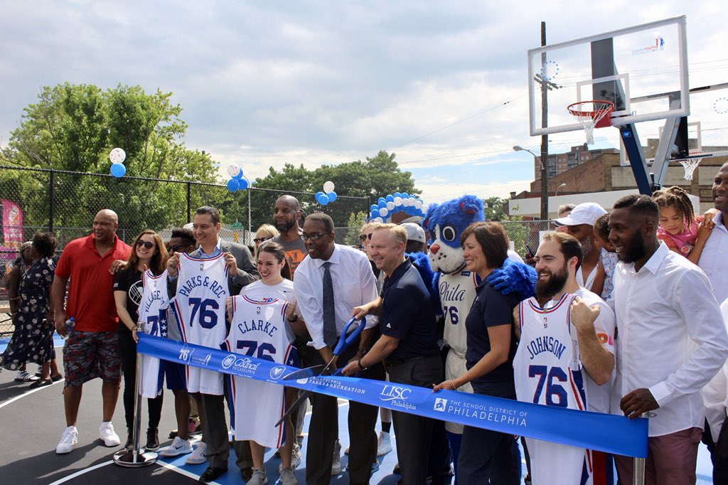 The ribbon is officially cut! @sixers & the Sixers Youth Foundation are honored to join forces with community leaders @Darrell_Clarke, @VillageArts, @LISC_Philly & @PhilaParkandRec to unveil the new basketball court in the Hartranft section of Philadelphia!
