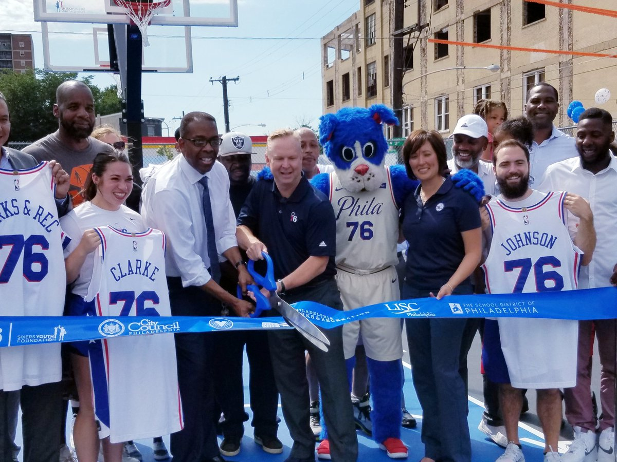 When a basketball court is more than just a basketball court. Thanks @SIXERSSTRONG & legends Elton Brand & World B. Free for believing in Fairhill-Hartranft & lifting up our kids! #HomeCourt
