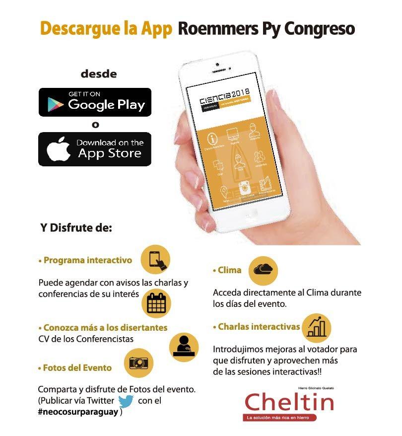 Ya podes descargar la app de #Roemmers para enterarte de todo lo relacionado al 5to Simposio #NeocosurParaguay