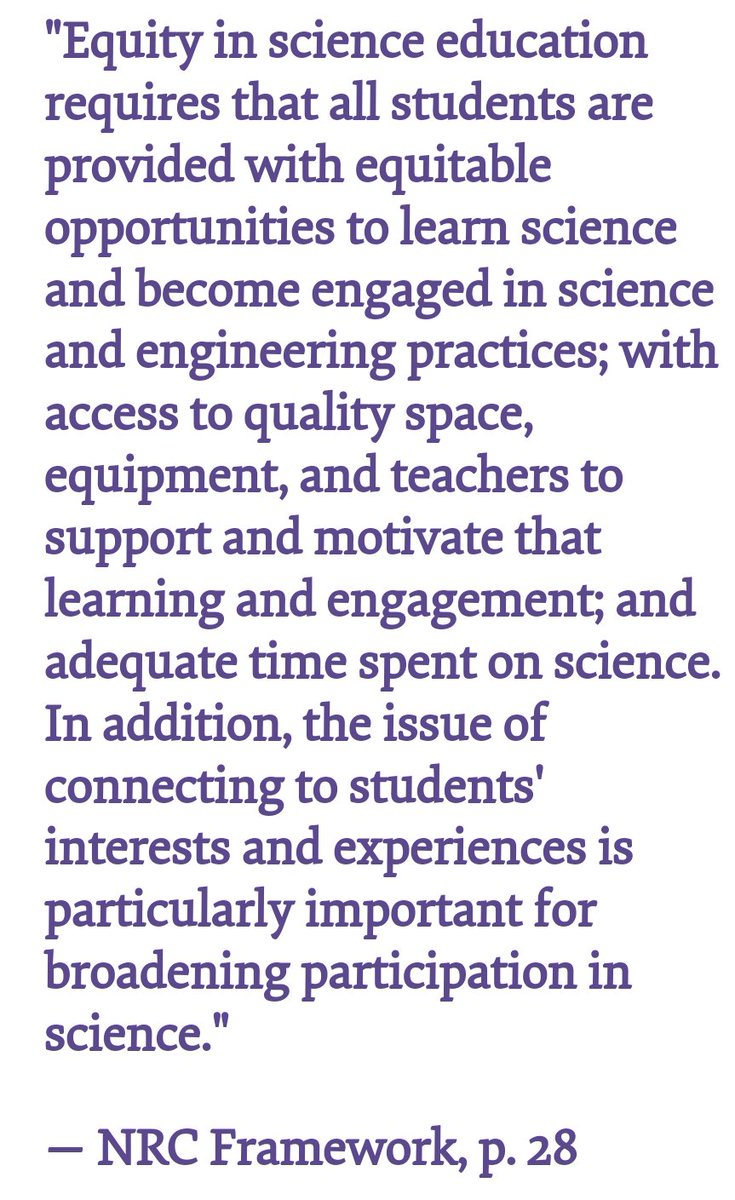 How do we provide equity in science ed for Ss in poverty if their science class time is diminished to provide more to math &amp; ELA? Science provides a reason for Ss to value math &amp; literacy &amp; an outlet to practice those skills, let alone the only place for criticalthinking skills. <br>http://pic.twitter.com/HUJwbLVqzc