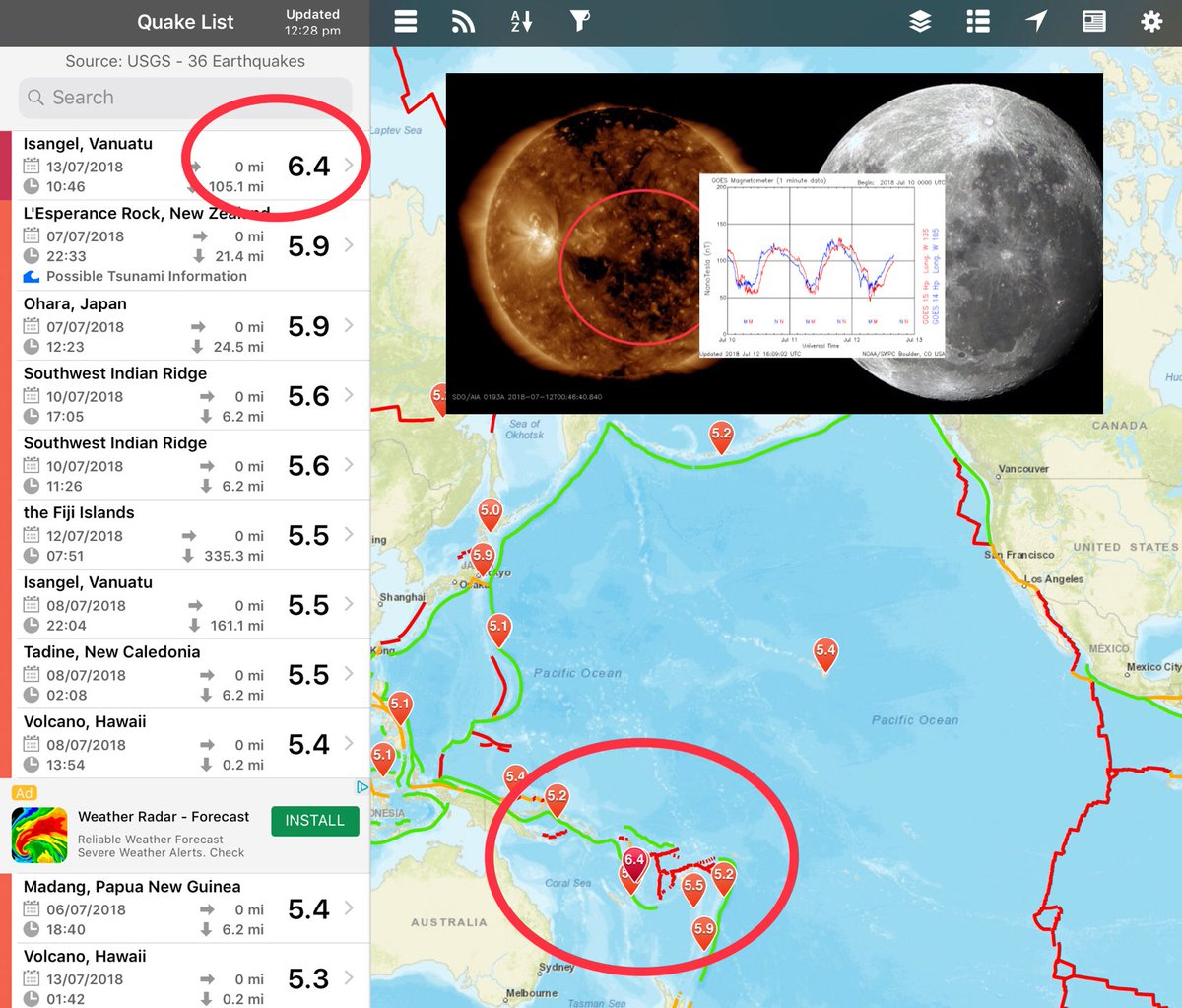 """SuperMoon Update: A """"coincidental"""" M6.4 has been recorded today, the same day of the SuperMoon and Earth Facing Coronal Hole... First Earthquake with over M6+ recorded for several days <br>http://pic.twitter.com/D1s3t2SazH"""