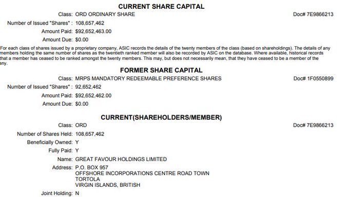 What a fabulously apt name -Great Favour Holdings Ltd (in the British Virgin Islands) is the sole shareholder of Country Garden, the Chinese company that Liberal MP Daryl Maguire and Lib councillor Michael Hawatt were trying to get a quid from #ICAC Photo