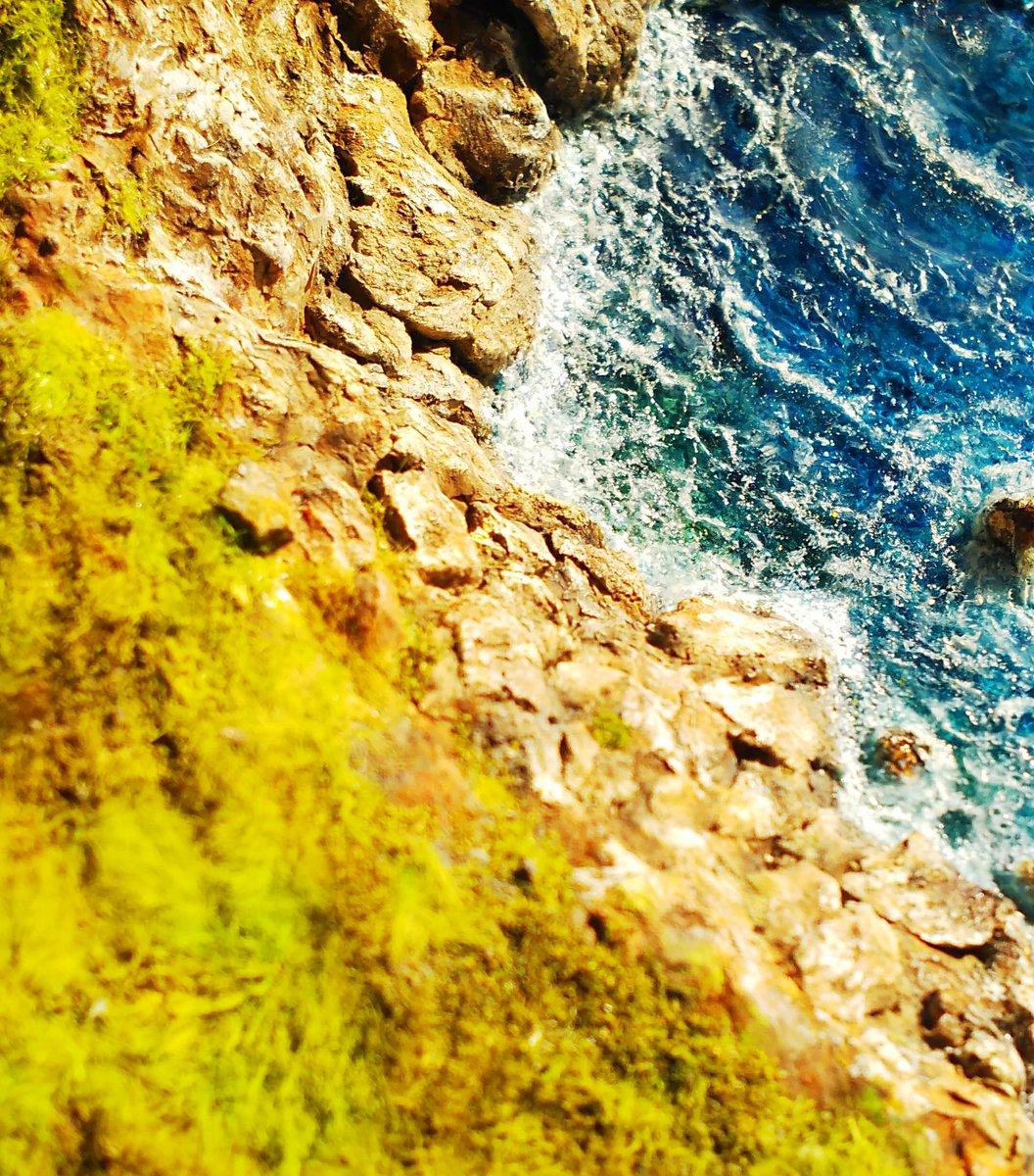 何回かやり直して最初にイメージしてた海に近づけたかも。  何枚か外で撮ってみたけど あっつー💦絶対日焼けしてる(笑)