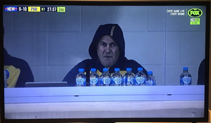 His palms are sweaty Knees weak Arms are heavy #NRLKnightsEels Photo