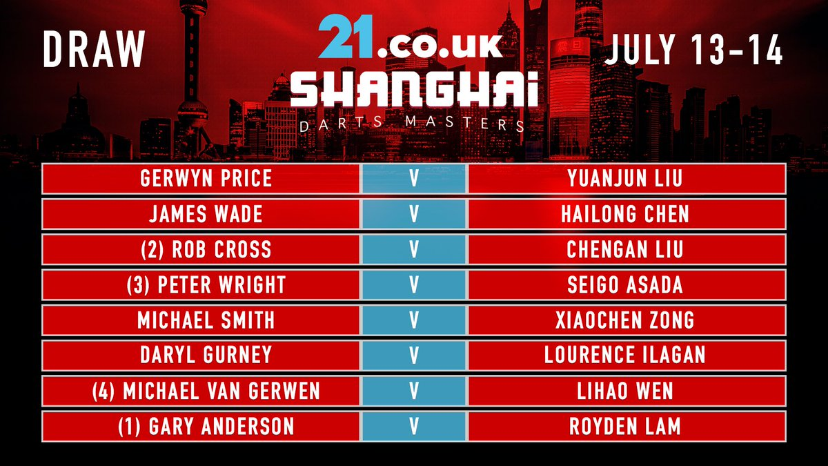 Here we go... Follow @DartsShanghai for all live updates from the @21Casino_ Shanghai Darts Masters. Delayed coverage of the event will be on @ITV4 tonight!