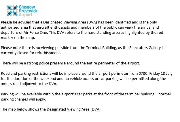 **Designated viewing area and road restrictions around airport**