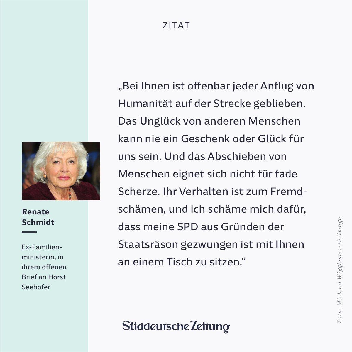 'Sie verdienen keine Ehre', schreibt Ex-Familienministerin Schmidt an Innenminister #Seehofer. Ihr ganzer offener Brief: https://t.co/Mw2xmkvoPp