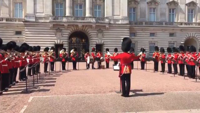 It's coming home.   The Bands of the Guards Division played a special rendition of Three Lions on the forecourt of Buckingham Palace ahead of England's World Cup quarter-final showdown with Sweden. #ENGSWE