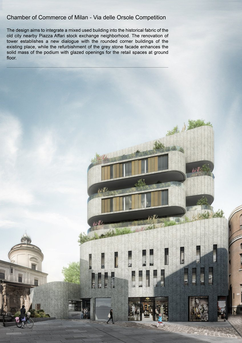 Chamber of Commerce of Milan - Via delle Orsole Competition  The #Design aims to integrate a mixed-used building into the historical fabric of the old city nearby Piazza Affari stock exchange neighborhood.   #architecture #design #Historical #Milan #mixed_used