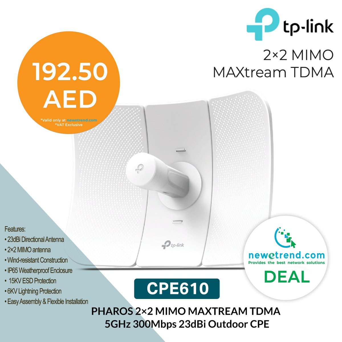 Newetrendcom Newetrend Twitter Tp Link Cpe610 5ghz 300mbps Outdoor Cpe Pharos 2x2 Mimo Maxtream Tdma Antenna For Long Range Wireless Transmission Order Now Https Googl Zlkttp Visit Register At