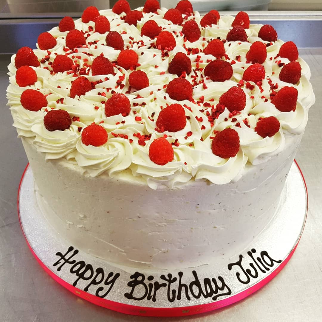 First Cake Of The Day Iced Decorated This Morning And Collected Already Huge 12 4 Layer Lemon Drizzle Fresh Raspberry Birthday
