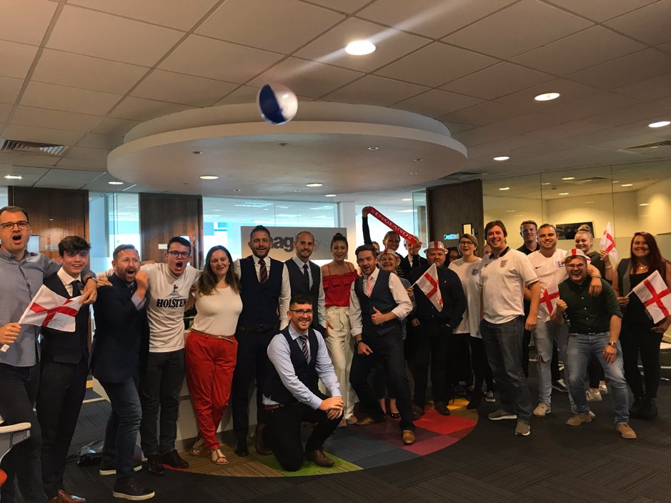 England theme in the office today 😆⚽️ Who else is excited for tonights game? #ENGCRO #BringItHome