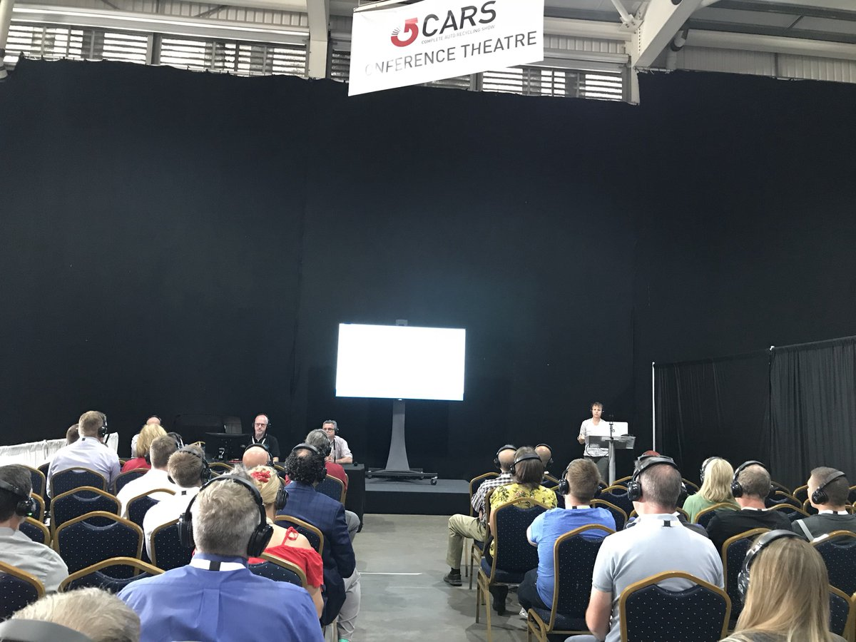 Another great picture of our Tech Spec Caroline Guest talking all things design for end of life and the future make up of vehicles at @EMG_CARSExpo #sustainable #manufacturing #EoL #Automotive #CARSexpo