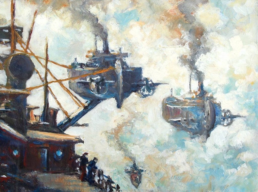 #Painting 🎨 Awesome of the Day: 'Coaling in the Clouds' (2013) Acrylic on Hardboard #Steampunk ⚙️ Impressionism by #CharlesLitka via @SteffenKoenig #SamaArt
