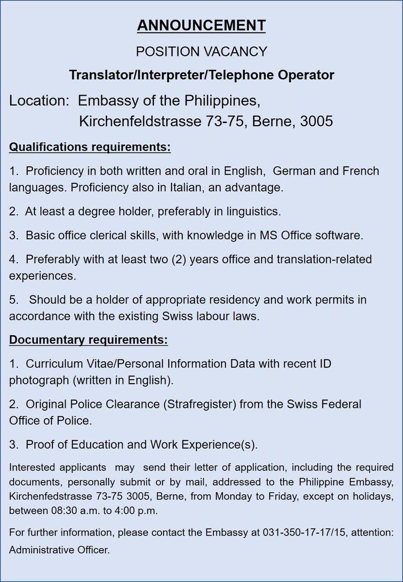 Philippine Embassy in Switzerland on Twitter: