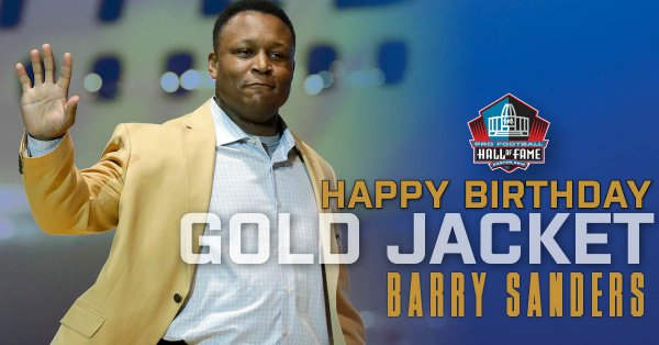 Happy Birthday to Hall of Fame RB @BarrySanders! Hall of Fame Enshrinement Class of 2004. RT to wish the @Lions great a Happy Birthday!