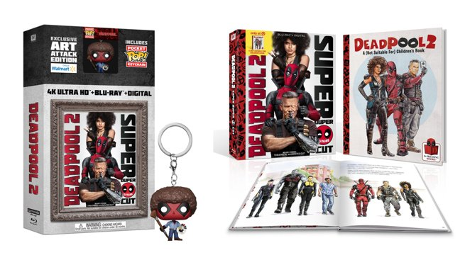 Which #Deadpool2 Super Duper Blu-ray exclusive bundle would you choose? The one with a #Funko keychain or the one with an inappropriate children's book? Photo