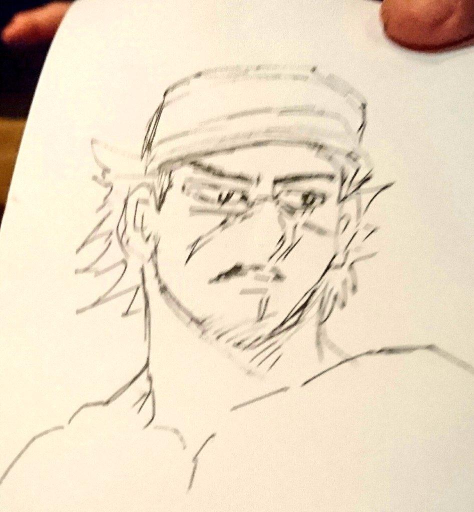 白石・健太郎さんと再びアイヌ料理のお店、ハルコロさんへ...  写真は女将さんが描いてくださった杉元と、月島軍曹のお面...(笑)楽しすぎた...!ハスカップマッコリ美味しい...!