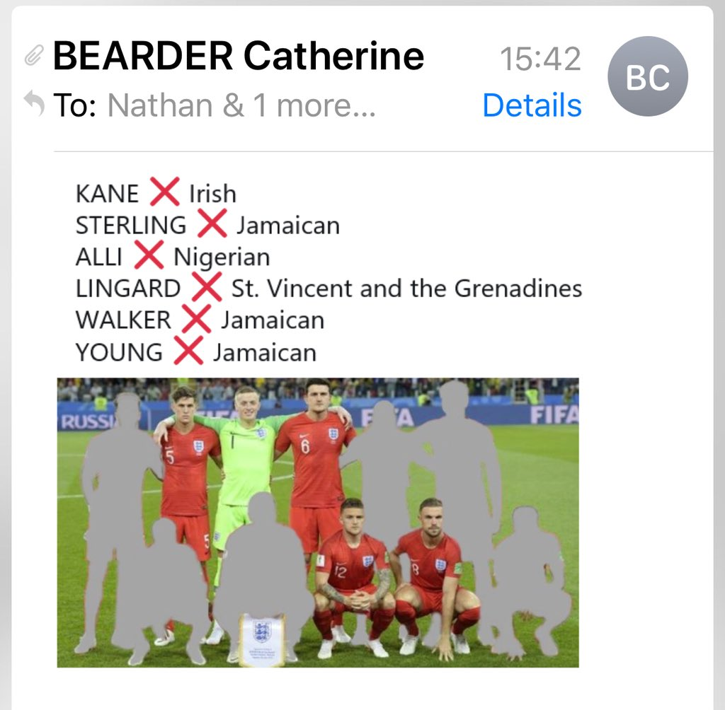I sent a cheeky #ItsComingHome email to the whole EU Parliament today, received lots of well wishes. Then got this racist and shocking email from the Lib Dem Catherine Bearder - she thinks the #Windrush generation cannot be English and blanked them out of the photo!