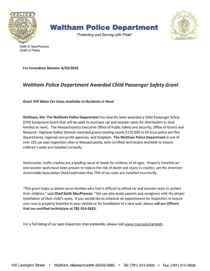Waltham MA Police On Twitter Please See Attached Press Release Regarding Funding Of Our Child Passenger Safety Seat Program