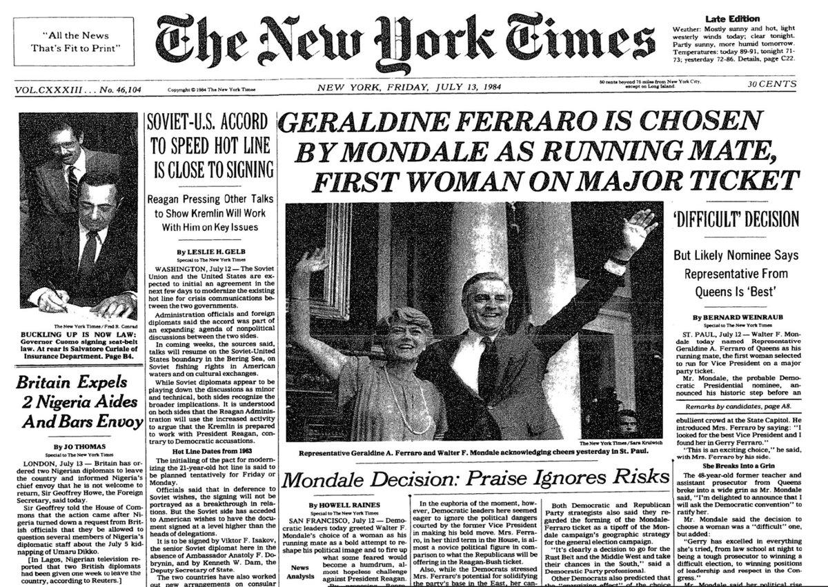 Image result for walter mondale taps geraldine ferraro as vice president