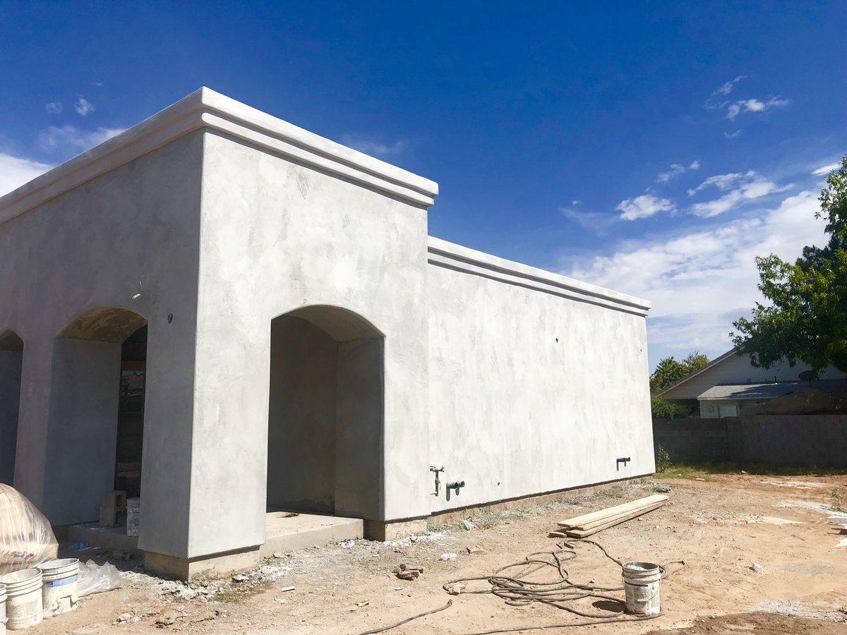 Acoe Mar Yosip Khnanisho Parish On Twitter The First Layer Of Texture For The Exterior Of The Church Has Been Applied We Chose A 90 10 Stucco Finish To Accomplish A Smooth Look