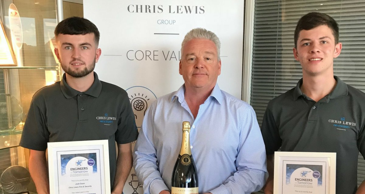 Great to present Max and Josh with their certificates and a bottle of fizz each for doing so well at the IFSEC Engineers of Tomorrow apprenticeship skills challenge. Proud of them both. #apprentices #IFSEC buff.ly/2MLqLWH