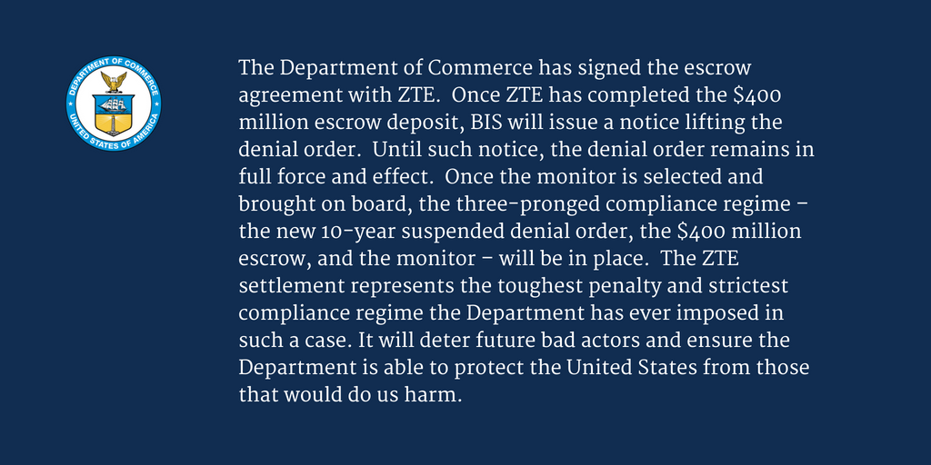 Us Commerce Dept On Twitter Our Statement On Zte And The