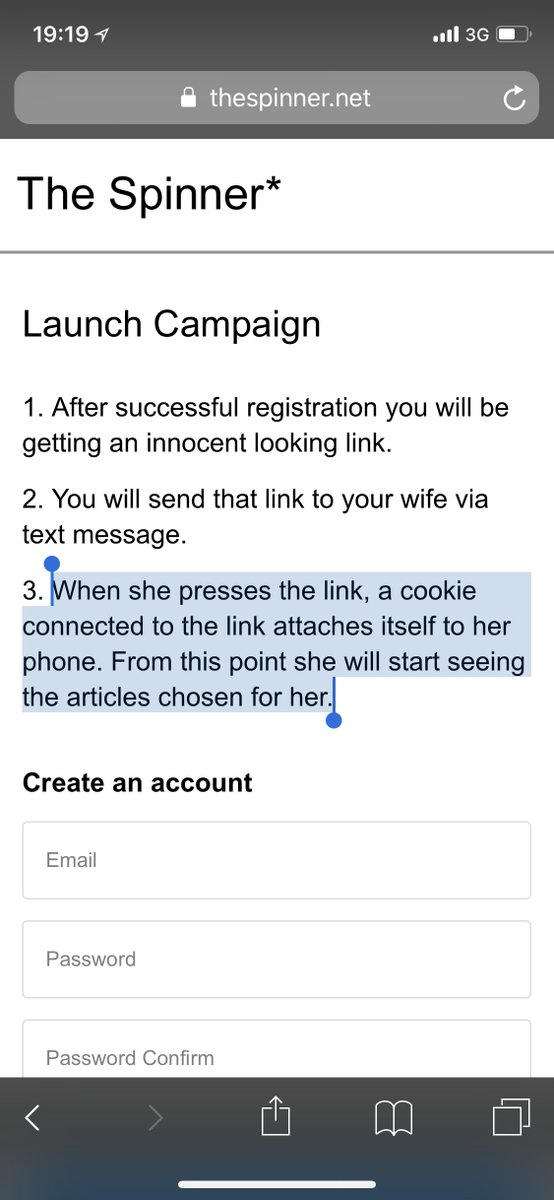"""The Spinner* is a service that enables you to control articles presented to your wife on the websites she usually visits, in order to influence her on a subconscious level to initiate sex.""  The best bit? It's ""just"" adtech.   It's retargeting.  It's how Google makes money."