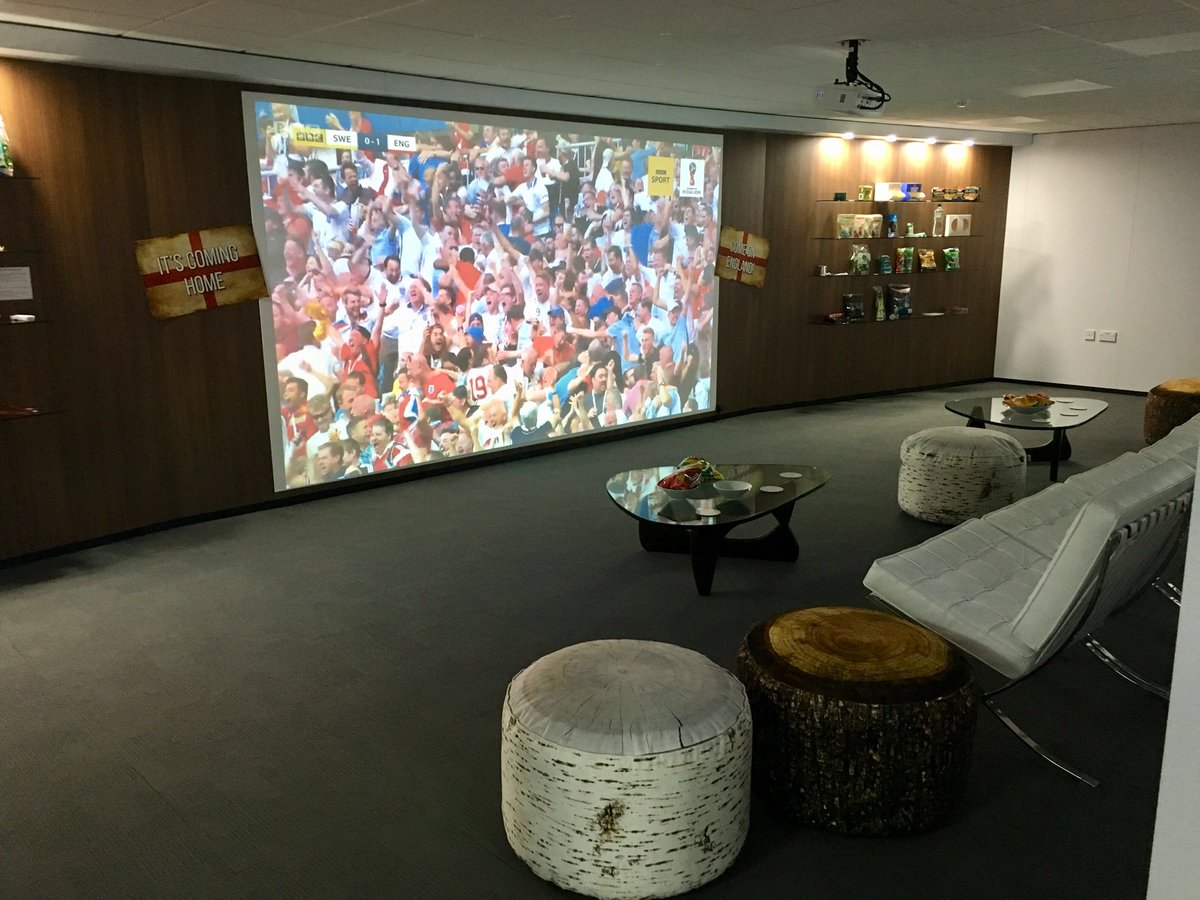 """The 170"""" projection screen in our Design Centre in Wigan is ready for the football tonight. #WorldCup2018 #whoswatching #goodluckEngland https://t.co/Ri3Hdi94HO"""