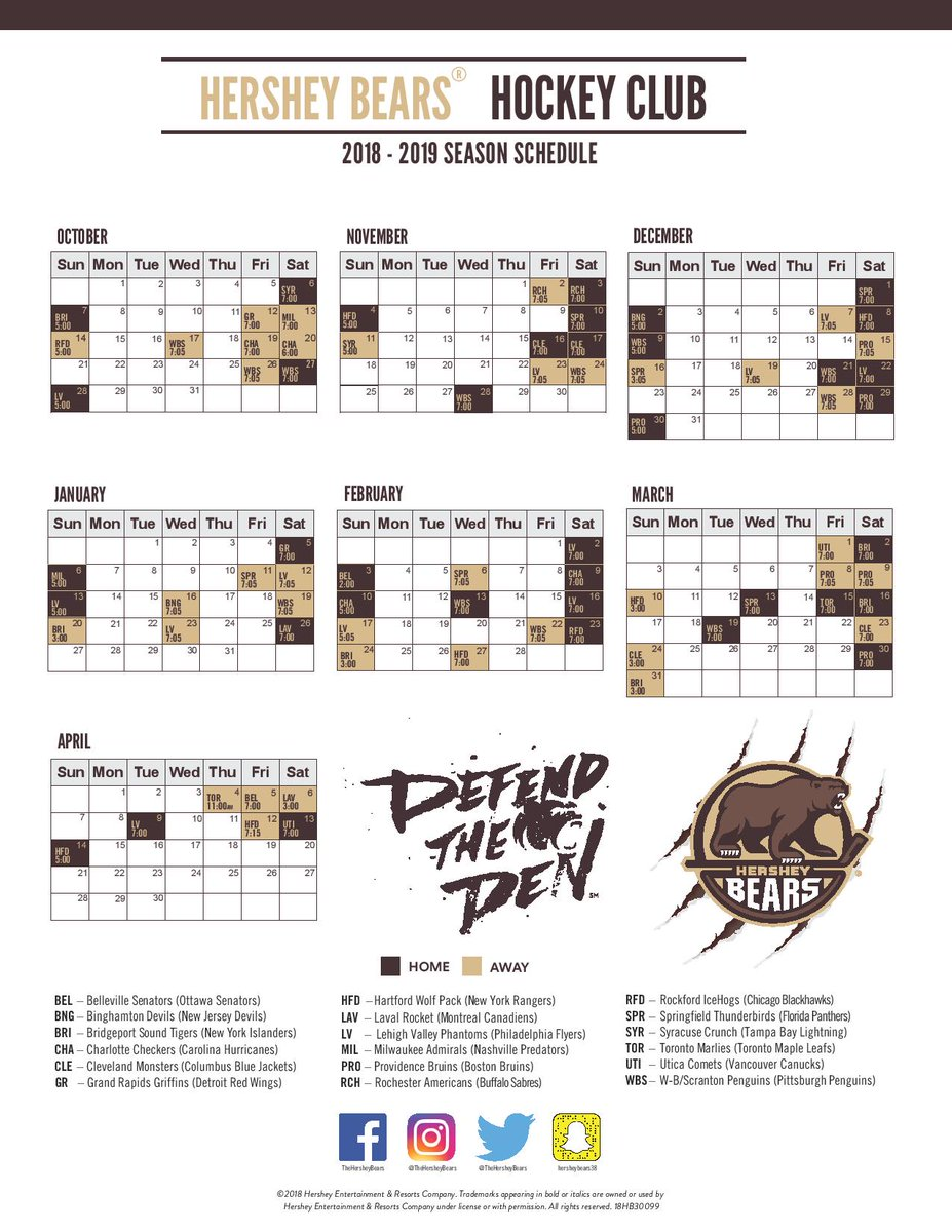 graphic relating to Printable Bears Schedule identified as Hershey Bears upon Twitter: \