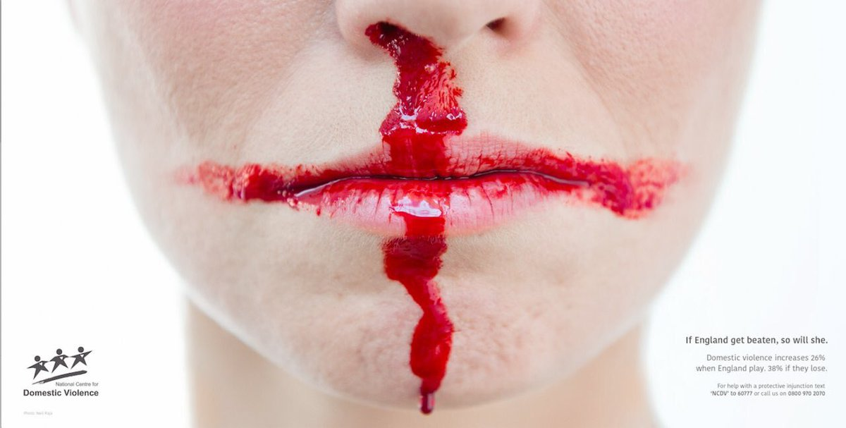 As uncomfortable #football and #EngCro truth. Domestic Violence and the #WorldCup are closely linked, with reported incidents up by 26% if England plays, 38% if England loses and 11% the next day, win or lose. Think first. ow.ly/YVeJ30kUrmm #EnglandCroatia #WorldCup2018