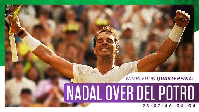 Nadal advances! Defeating Del Potro in five sets, he is the only top-5 seed on to the @Wimbledon semifinals. Foto